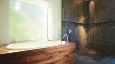 Bois et ardoise en toute simplicité pour la salle de bains Photo: Yves Lefebvre