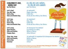 "Share this poem in English AND Spanish, ""Children's Day, Book Day"" by Pat Mora from THE POETRY FRIDAY ANTHOLOGY® FOR CELEBRATIONS edited by Sylvia Vardell and Janet Wong (Pomelo Books, 2015)"