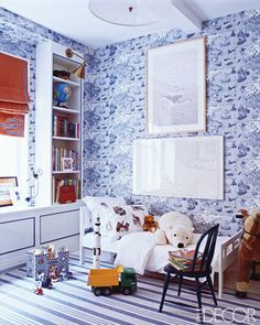 wallpaper, toddler bed, roman shades - love this Nursery by Miles Redd.