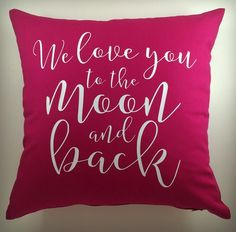to the moon and back pink pillow, home decor, pillows, cushions, www.girliture.ca