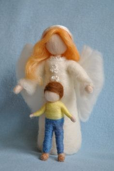 Waldorf inspired needle felted dolls Guardian Angel by MagicWool, $64.00