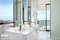 #Hilton #Pattaya #bathroom overlooking the tropical blue waters of the Gulf of Thailand.