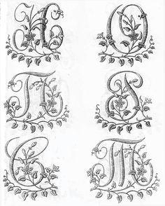 Схемы вышивки гладью монограмм (русский алфавит) .- embroidery