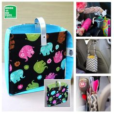 SUPER SALE! Hook Handle Tote with Attached Strap. Exclusively Designed & USA made. Car Organizer. turquoise-pink-green elephants
