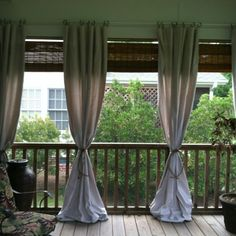 Use inexpensive drop cloth to add style to your porch! by margaret.ramos.982 Porch Curtains, Drop Cloth Curtains, Outdoor Curtains, Outdoor Rooms, Outdoor Living, Shower Curtains, Outdoor Fabric, Gazebo, Patio Interior