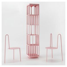 Crosby Studios - Chairs and free-standing shelve [powder coated steel, 2016]
