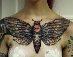 Death's-Head Hawkmoth chest tattoo by Jakob Holst Rasmussen.  http://tattooideas247.com/hawkmoth/