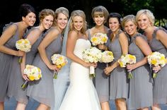 Grey and Yellow Wedding... Love the bouquets and grey dresses with yellow shoes! :)