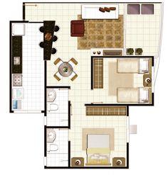2 quartos e 1 suíte (Tipo 1) - Borges Landeiro Orient