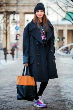 Sneakers and oversized cocoon coat