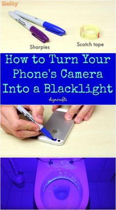 Diylifehacks BLACK LIGHT PHONE HACK Crafts Pinterest - Transform your phone into a blacklight using just a tape and sharpie