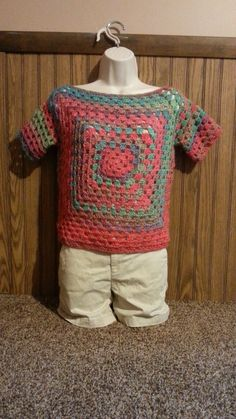 #Crochet Easy Granny Square Ladies Top Shirt Blouse #TUTORIAL
