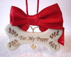 Dog Bone Christmas Ornament For My Puppy Lenox Porcelain Dog Treat Heart Charm