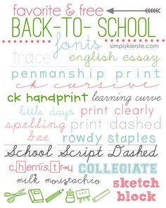 favorite & free back-to-school fonts | simplykierste.com