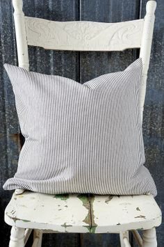 Charcoal and white linen ticking pillow by OliverandRust on Etsy, $30.00