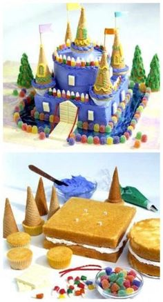 Schloss Kuchen Tutorial Schloss Kuchen Castle Birthday Cake - Blue Candy castle cake for several kids with September birthdays at a local shelter cinderella castle cake Food Cakes, Cupcake Cakes, Cupcake Recipes, Beautiful Cakes, Amazing Cakes, Castle Birthday Cakes, Princess Birthday Cakes, Kale Pasta, Themed Cakes