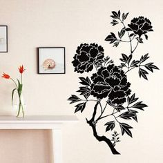 DIY Home Decoration Background Sticker Wall Decor Art Mural with Peony Pattern Black Wall Decor, Wall Art Decor, Wall Decor Stickers, Wall Sticker, Black Walls, Wall Patterns, Unique Home Decor, Home Projects, Peonies