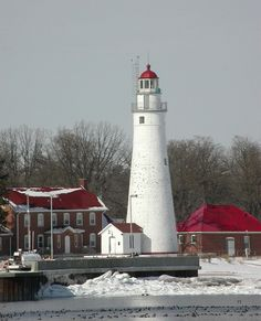 Fort Gratiot Lighthouse in winter at Port Huron, Michigan