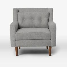 Crosby Armchair, Chenille Tweed, Feather Gray