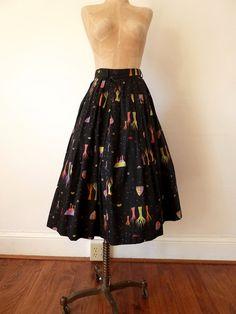 50s atomic TREES novelty print skirt by teastreetvintage on Etsy