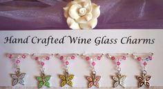 Butterfly Wine Glass Charms - Wine Glass Charms - New Home Gift Ideas £9.99 Wine Glass Charms, Swarovski Pearls, New Home Gifts, Hostess Gifts, Mother Day Gifts, Bridal Accessories, Teacher Gifts, Butterfly, Garden Parties