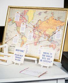 Bodas con temática de viajes 5 seating plan protocolo mapamundi