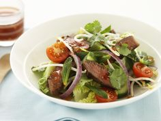 This zesty Thai beef salad can be on the table in no time at all - packed full of flavour and delicious, fresh ingredients, it is the perfect dish for a warm summer evening. Beetroot Relish, Coles Recipe, Thai Beef Salad, Bread Pudding With Apples, Cucumbers And Onions, Asian Beef, Fruit And Veg, Quick Easy Meals, Salad Recipes