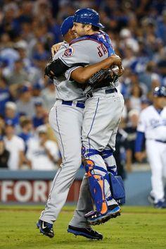 Jeurys Familia, Travis d'Arnaud //NYM win the NLDS at LAD, Oct 15, 2015 Mets Team, Ny Mets, New York Mets, Minor League Baseball, Major League, Mets Baseball, Baseball Cards, Mlb Postseason, Sports Images