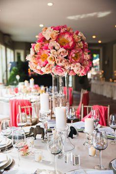 Bold pink colors in this Lord Thompson Manor wedding: http://www.stylemepretty.com/connecticut-weddings/2014/09/24/pops-of-color-at-lord-thompson-manor-wedding/ | Photography: Tara Lynn Sen - http://www.taralynnsen.com/