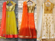 Lovely Anarkali Suits – Yellow chanderi brocade applique anarkali kurta with coral colour dupatta. Indian Attire, Indian Wear, Indian Outfits, Indian Clothes, Saree Blouse Designs, Blouse Patterns, Kathak Costume, Blouse Models, India Fashion