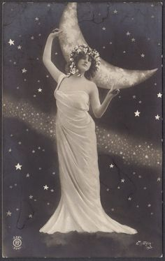 Queen of the Night Sky Art Nouveau Goddess