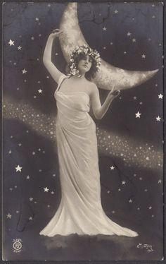 Queen of the Night Sky Art Nouveau Goddess