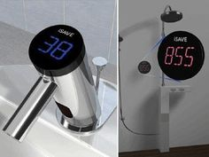 This thing is called iSave .It's attached on faucets and showers to measure water consumption. It's a great way to be and What's more it gets energy from the water running through the faucet it is attached to. Bathroom Sink Design, Bathroom Fixtures, Modern Bathroom, Bathrooms, Innovation, Bathroom Gadgets, Plumbing Problems, Water Faucet, Water Efficiency