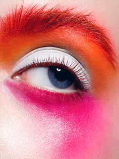 Love the intense white eyeshadow, orange eyebrows, orange eyelashes | Beauty by Yulia Gorbachenko