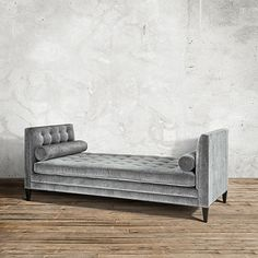 "$2499/sale $1699 Clancy Upholstered Tufted Daybed in Vangogh Fog | Arhaus Furniture - clean angular daybed w/ many other fabrics or custom for $.  86""w x 37""d x 35""h. Hand-tufting & button accents, solid wood legs"