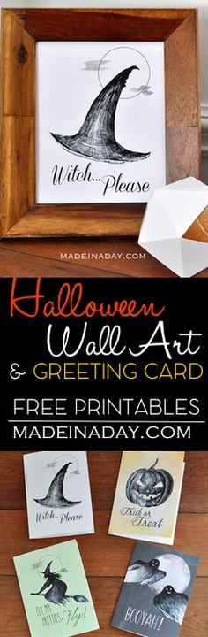 FREE Sketchy Halloween Printable Wall Art & Greeting Cards,Grab these cool free printables, Witch Please, Booyah, Fly Pretties Fly, Trick or Treat PDF on madeinaday.com via @madeinaday