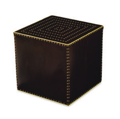 Lee leather ottoman in Tampa Cigar
