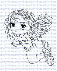 Digital Stamp - Mermaid Maria, Digi Stamp, Coloring page, Printable Line art for Card and Craft Supply by artbymiran on Etsy