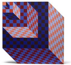 Artwork by Victor Vasarely, Felhoe, Made of handpainted in colors on wood multiple