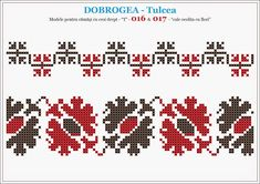 Semne Cusute: camasa romaneasca, motive traditionale - DOBROGEA ... Hardanger Embroidery, Folk Embroidery, Cross Stitch Embroidery, Embroidery Patterns, Stitch Patterns, Cross Stitch Borders, Cross Stitching, Beading Patterns, Needlework