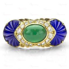 Cartier 18K Yellow Gold Green Chalcedony Blue Onyx Diamond Ring