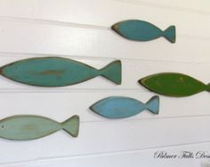 School Of  Wood Fish / Nautical Nursery Decor / Fish Wall Art  / Nautical Bathroom  / Beach Fish Decor / Lake House Decor / Nautical Decor