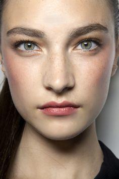 Jacquelyn Jablonski. fresh faced natural makeup with light gold shimmer eye shadow