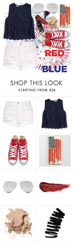 """""""Red, White, and Blue Contest Entry: Fireworks"""" by arrowlily ❤ liked on Polyvore featuring Aéropostale, Converse, Sunny Rebel, By Terry, Bobbi Brown Cosmetics, Marc Jacobs, fireworks and redwhiteblue"""