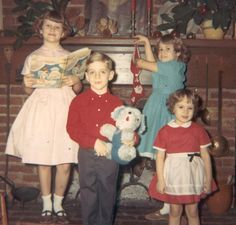 Christmas Hand me downs will work so much better with four little misses. Little does he know that he too is soon destined for dresses. Vintage Christmas Photos, Retro Christmas, Vintage Holiday, Christmas Pictures, Xmas Photos, Family Photos, Ghost Of Christmas Past, Christmas Morning, Christmas Holidays