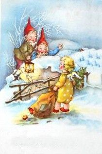 Christmas And New Year, Christmas Cards, Hallmark Cards, Cozy Cabin, Leprechaun, Little People, Vintage Cards, Elves, Troll