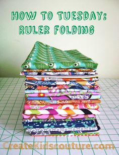 The goal of ruler folding is to end up with a stack of fabric that are the same length and width.undefined
