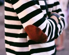 Fancy - Striped Sweater w/ Elbow Patches