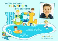 Boy Pool Party Swimming Photo Birthday Invitation