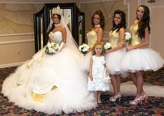 1250f8cbb3d42 Nettie and her bridesmaids sparkle in gold and crystals. Gypsy Wedding Gowns,  Big Fat